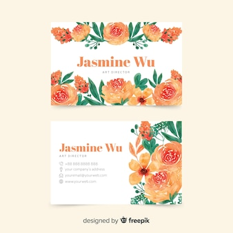 Elegand y tema floral para tarjeta de visita