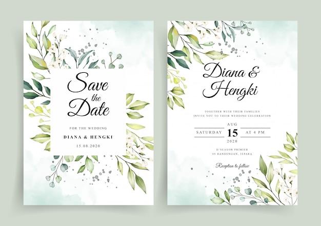 Elegante acuarela floral blanca en plantilla de tarjeta de invitación de boda