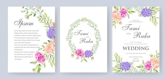 Elegante acuarela floral y hojas tarjeta de boda termplate