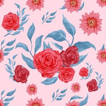 Elegante acuarela floral de patrones sin fisuras