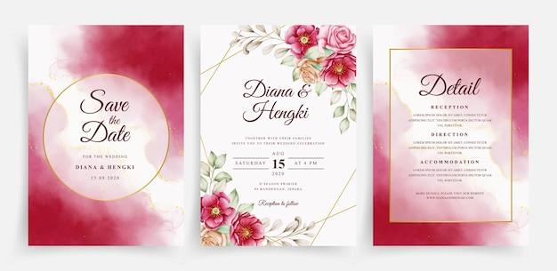 Elegante acuarela y floral rojo en plantilla de tarjeta de boda