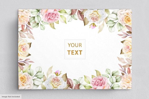 Elegante acuarela flores con hermosas hojas tarjeta de invitación