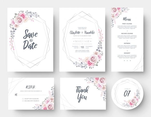 Elegante acuarela de flores plantilla de tarjeta de invitación de boda papelería