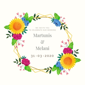 Elegante adorno floral marco