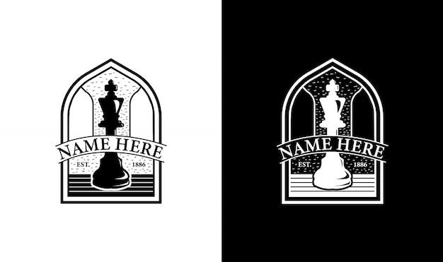 Elegante ajedrez vintage retro insignia etiqueta emblema diseño de logotipo inspiración