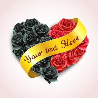 Elegante almohada rosa corazón de acuarela con banner de cinta dorada