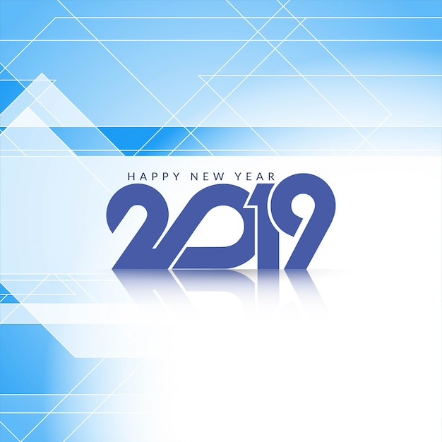 Elegante año nuevo azul 2019 fondo moderno