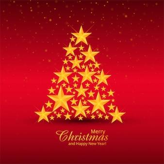 Elegante árbol de estrellas decorativas de navidad en rojo