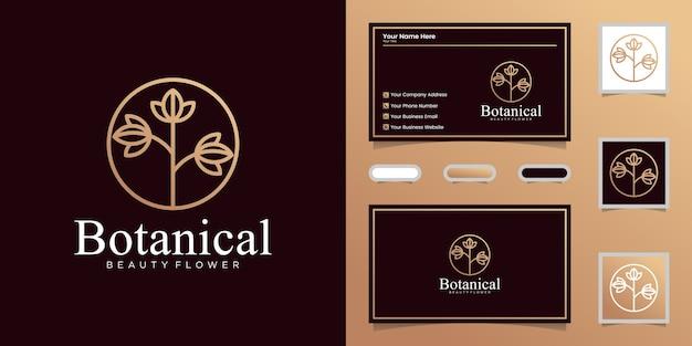 Elegante arte de línea botánica, diseño de logotipo y tarjeta de presentación.