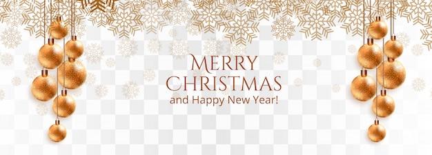 Elegante bandera dorada de bolas y copos de nieve de navidad
