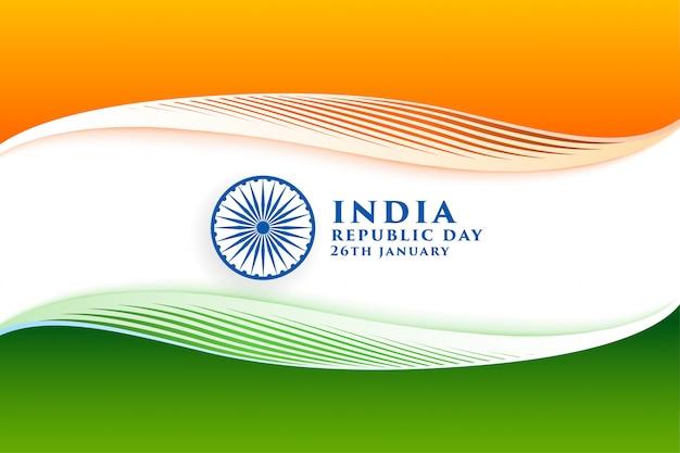 Elegante bandera india para feliz día de la república