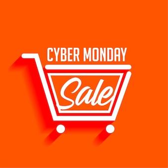Elegante banner de carrito de compras de venta cyber monday