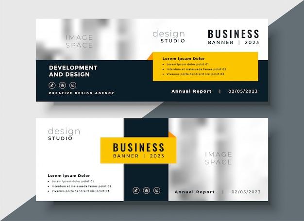 Elegante banner de negocios corporativos amarillo