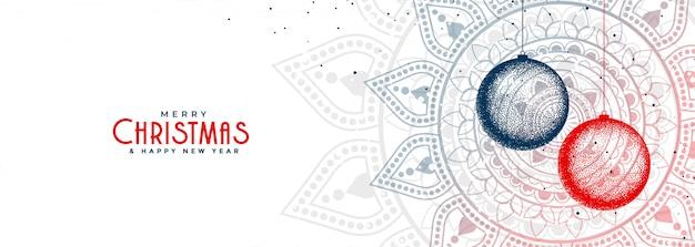 Elegante banner decorativo blanco de bolas de navidad