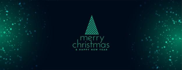 Elegante banner de feliz navidad con destellos