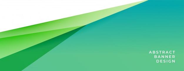Elegante banner de fondo verde y turquesa en estilo geométrico