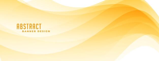 Elegante banner de formas abstractas amarillas con curvas