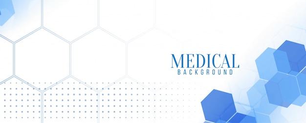 Elegante banner hexagonal azul médico