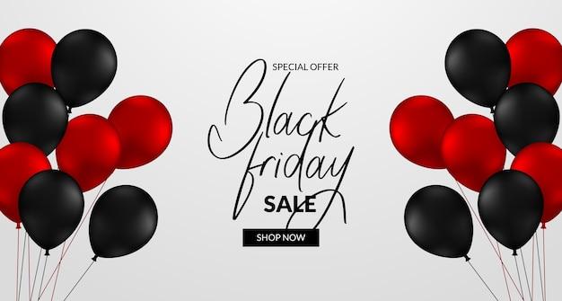 Elegante banner de lujo para el descuento de oferta de venta de viernes negro con globos rojos y negros 3d voladores