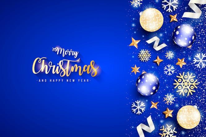 Elegante banner de navidad con fondo azul.