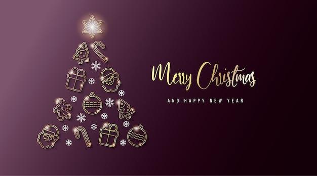 Elegante banner navideño con elementos dorados
