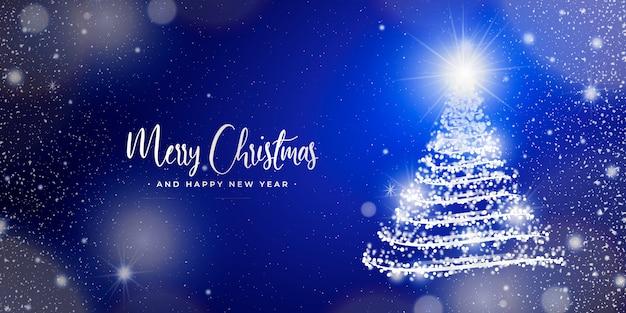 Elegante banner navideño con luces borrosas