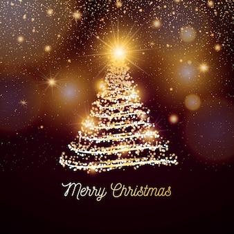 Elegante banner navideño con luces doradas