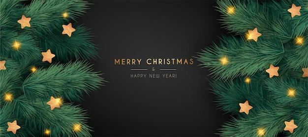 Elegante banner navideño con ramas realistas