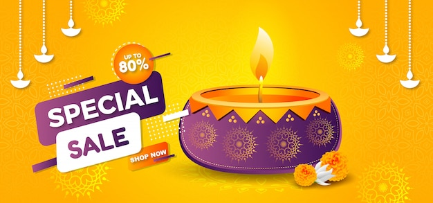Elegante banner de venta del festival de diwali con amarillo