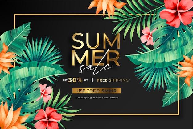 Elegante banner de venta de verano con flores y hojas tropicales.