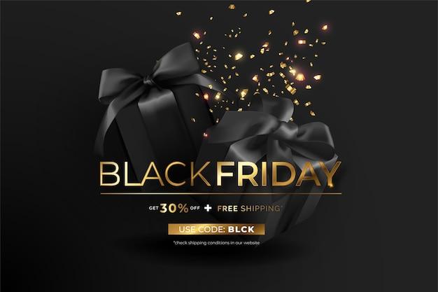 Elegante banner de viernes negro con regalos y confeti.