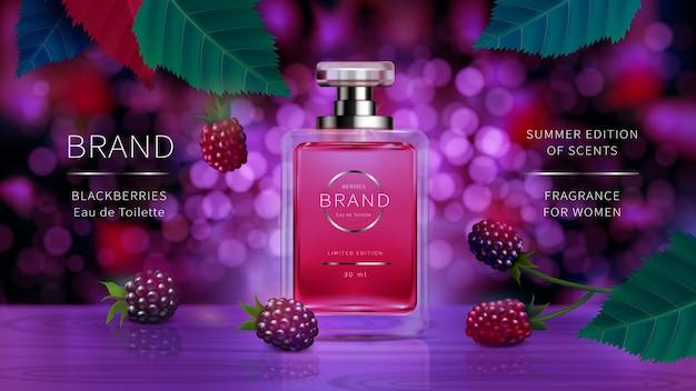 Elegante botella de vidrio para perfumes de mujer con bayas silvestres