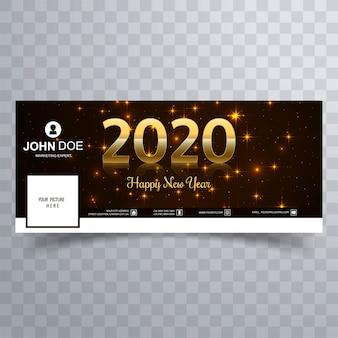 Elegante brillante dorado feliz año nuevo 2020 cubierta