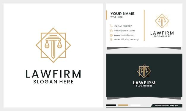 Elegante bufete de abogados, abogado, logotipo de pilar con estilo de arte lineal y plantilla de tarjeta de visita