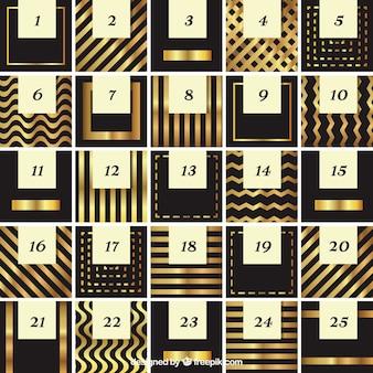Elegante calendario de adviento abstracto dorado