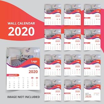Elegante calendario de año nuevo para 2020
