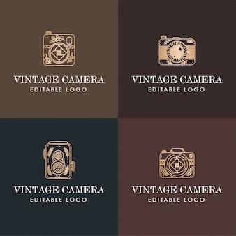 Elegante cámara minimalista logo monograma dorado premade