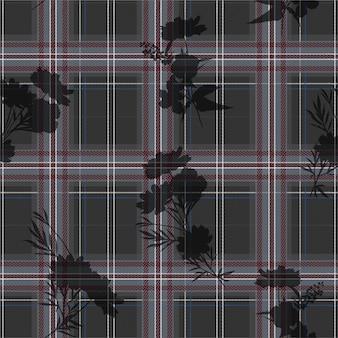 Elegante capa de tartán moderno en silueta flores de patrones sin fisuras en vector, diseño para moda, tela, papel tapiz y todas las impresiones