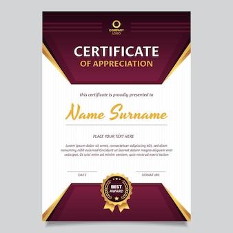 Elegante certificado de agradecimiento degradado.