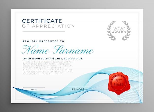 Elegante certificado azul de plantilla de agradecimiento