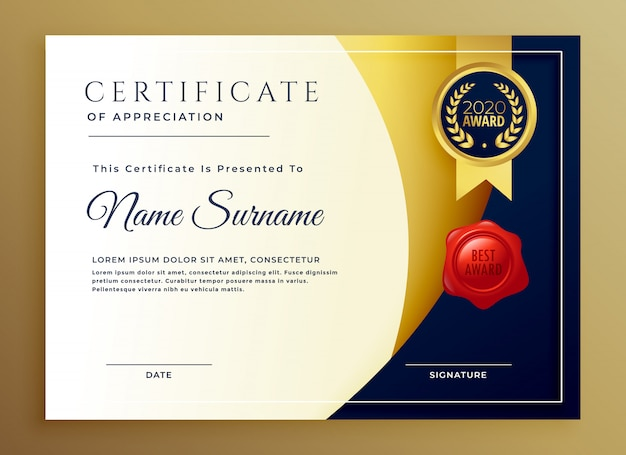 Elegante certificado de diseño de plantillas de apreciación.