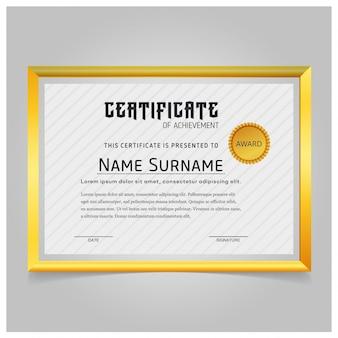 Elegante certificado con marco dorado