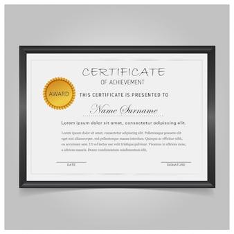 Elegante certificado con marco negro