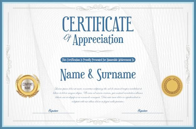 Elegante certificado o diploma de diseño retro vintage.