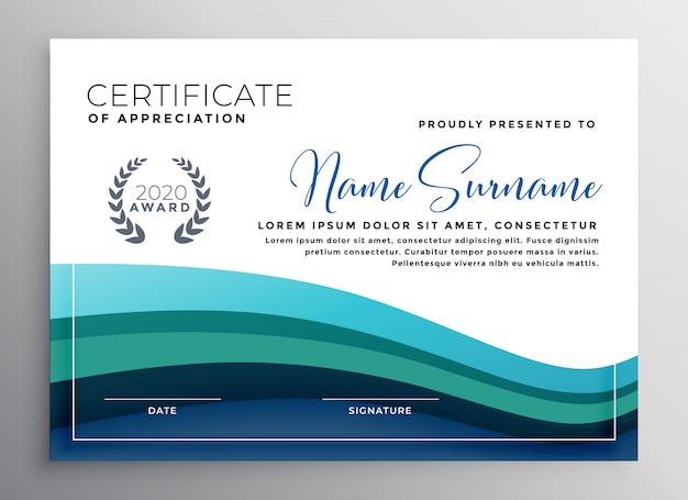 Elegante certificado de ola azul de plantilla de agradecimiento