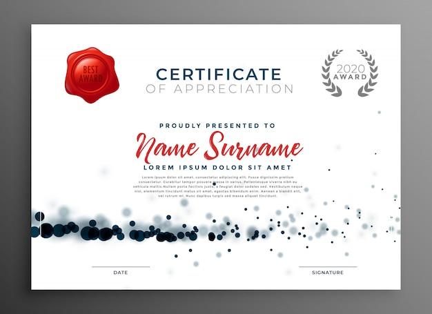 Elegante certificado de plantilla de agradecimiento