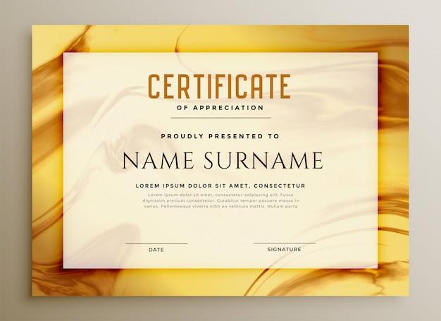 Elegante certificado de textura de mármol dorado.