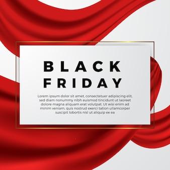 Elegante cinta roja de onda para banner de descuento de oferta de venta de apertura de lujo de viernes negro
