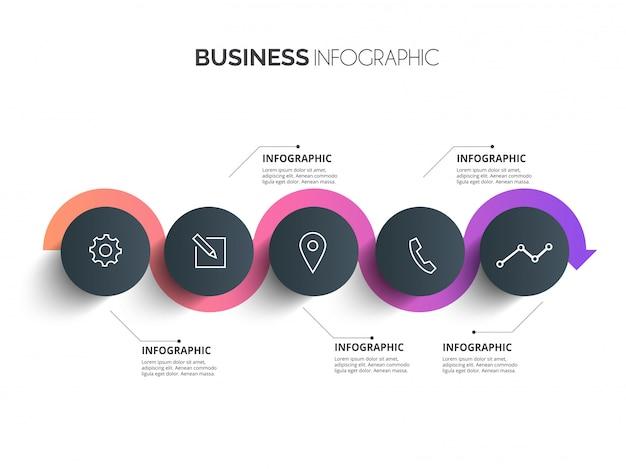 Elegante círculo línea de tiempo proceso historia mapa mental plantilla de infografía empresarial. colección de conceptos de fondo de infografía del sitio web.