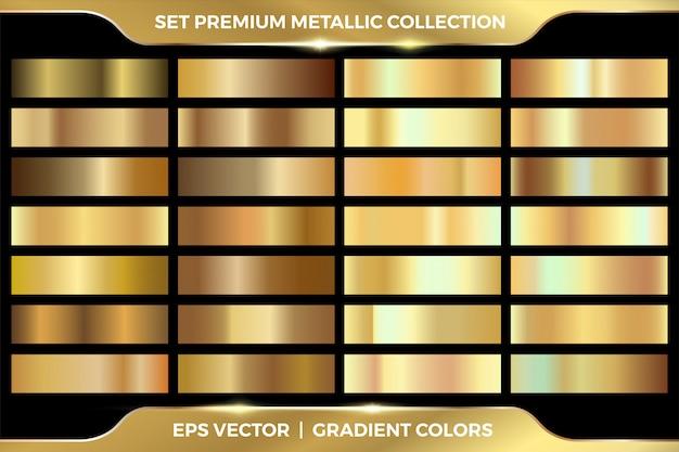 Elegante colección de conjuntos metálicos de color degradado dorado